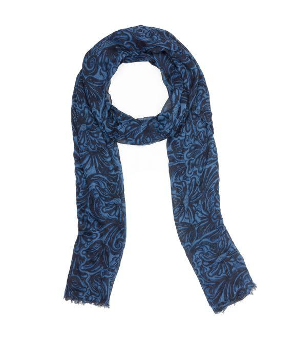 Scarf - Tooled Indigo 1