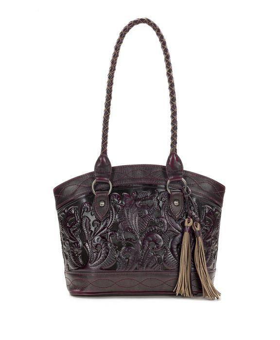 Zorita Satchel - Burnished Tooled - Plum