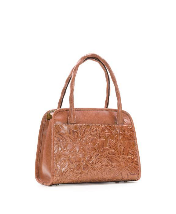 Paris Small Satchel - Floral Tooling Dusty Rose 3