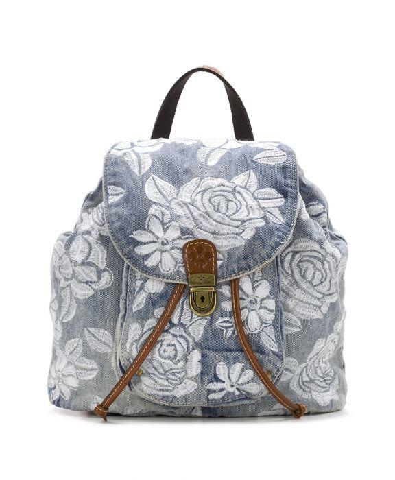 Casape Backpack - Spanish Villa Embroidered Washed Denim
