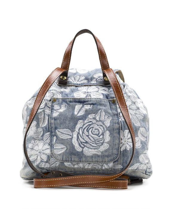 Casape Backpack - Spanish Villa Embroidered Washed Denim 2