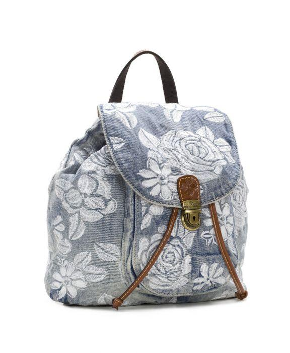 Casape Backpack - Spanish Villa Embroidered Washed Denim 3