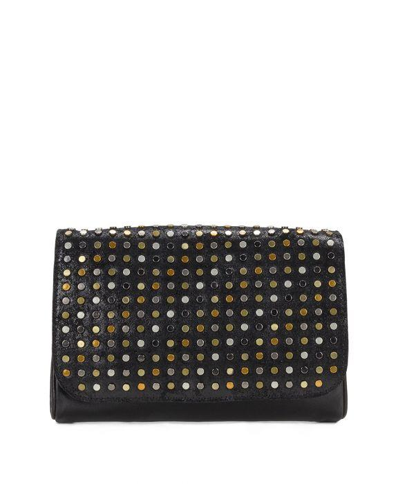 Luisa Flap Clutch - Studded Black