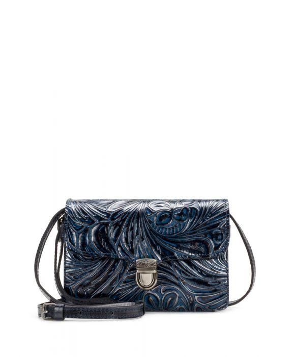 Bianco Crossbody Organizer - Metallic Tobacco Fields Navy
