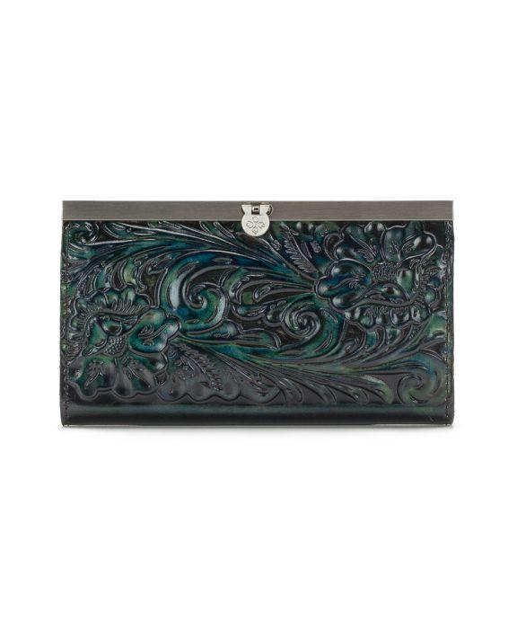 Cauchy Wallet - Burnished Tooled - Teal