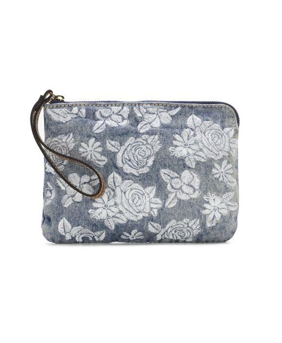 Cassini Wristlet - Spanish Villa Embroidered Washed Denim