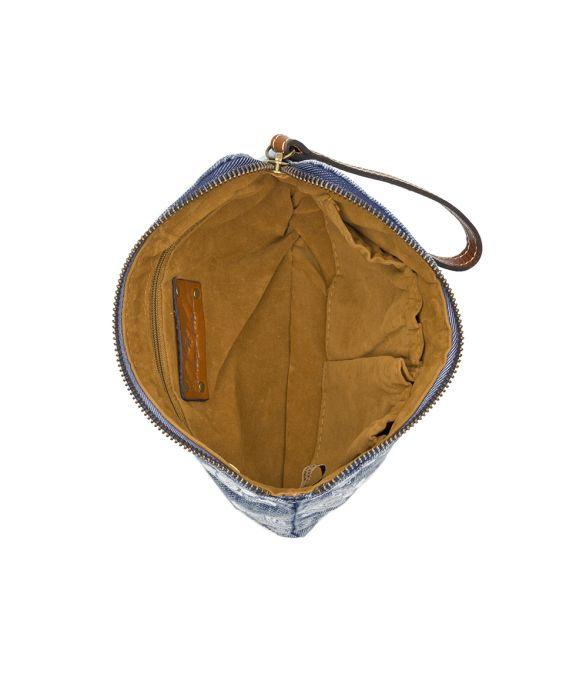 Cassini Wristlet - Spanish Villa Embroidered Washed Denim 3