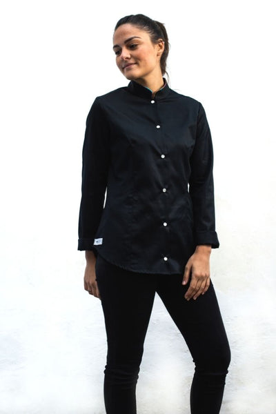 camicia nera da donna con piping in wax