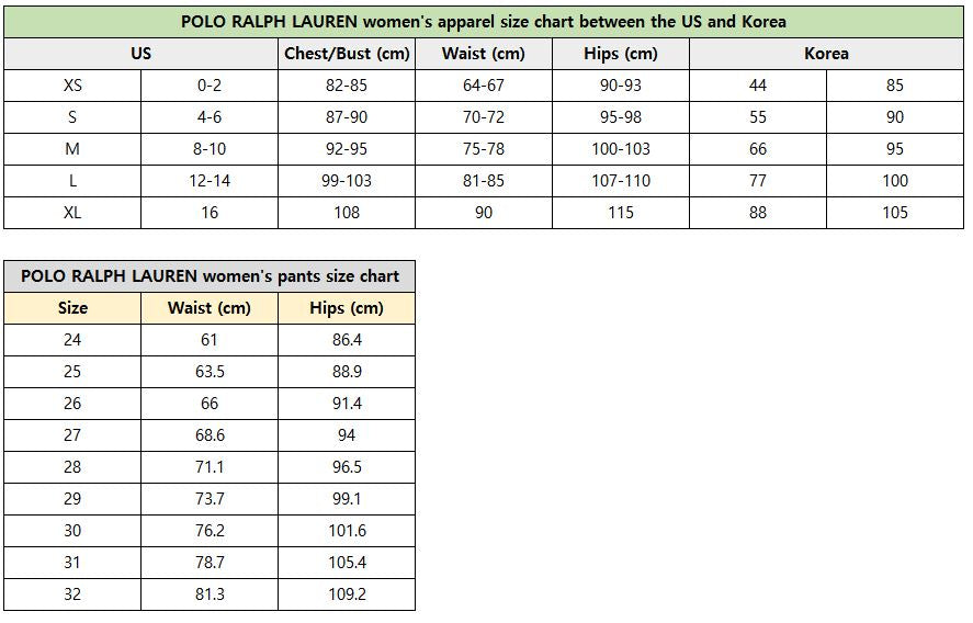 POLO RALPH LAUREN women's apparel size chart between the US and Korea