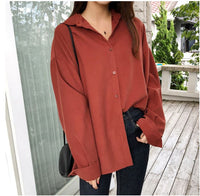 Women's Shirt Solid Tone Long Sleeve Button-Down