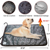 RIOGOO Dog Cat Electric Heating Pad,Pet Heating Pad Indoor Waterproof Adjustable Warming Mat with Chew Resistant Steel Cord - ibspot