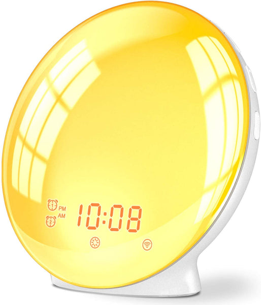 Wake Up Light Alarm Clock, Compatible with Alexa & Google Home, 7 Colored Sunrise Simulation and Sunset Fading, Dual Alarm Clock with FM Radio, USB Charge Port - ibspot