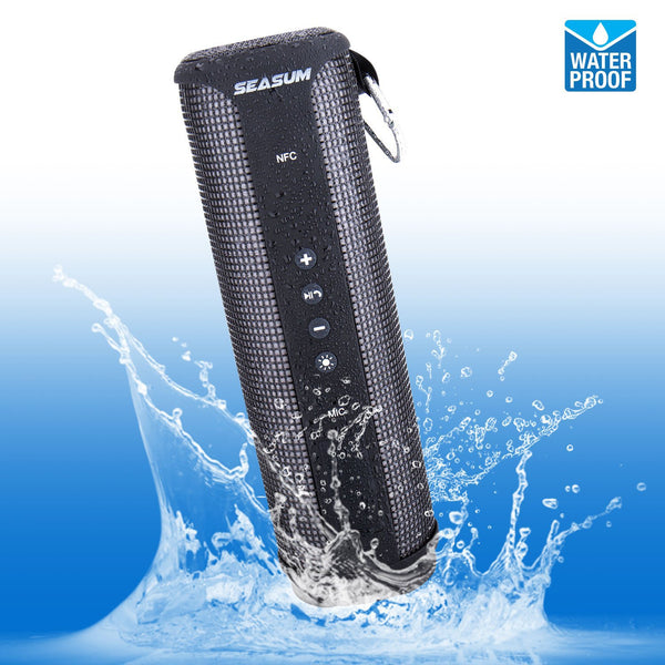 Portable Waterproof LED Bluetooth Speaker with Rechargeable Lithium Battery – Black - ibspot
