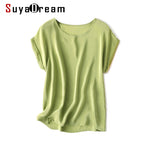 Women Summer 100% Real Silk T-Shirt