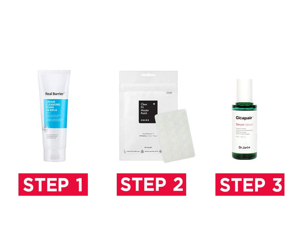 [#3 ACNE CARE 3 Step] Real Barrier Cream Cleansing Foam 150g + COSRX Clear Fit Master Patch (18 patches) + Dr.jart CICAPAIR™ Tiger Grass RE.Pair Serum