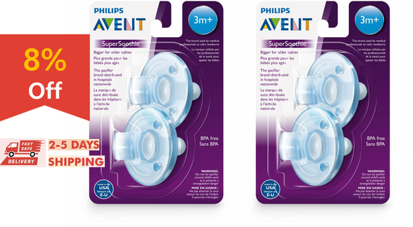 [4 pack] Philips Avent Soothie Pacifier, 3+ months, blue/blue, SCF192/06 - ibspot