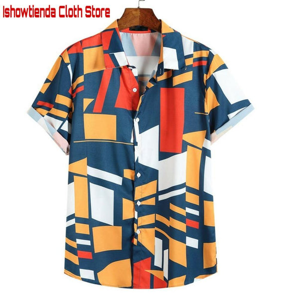 Men's clothing Mens Contrast Color Geometric Printed Turn Down Collar Short Sleeve Loose Shirts Hauts pour hommes Plus Size