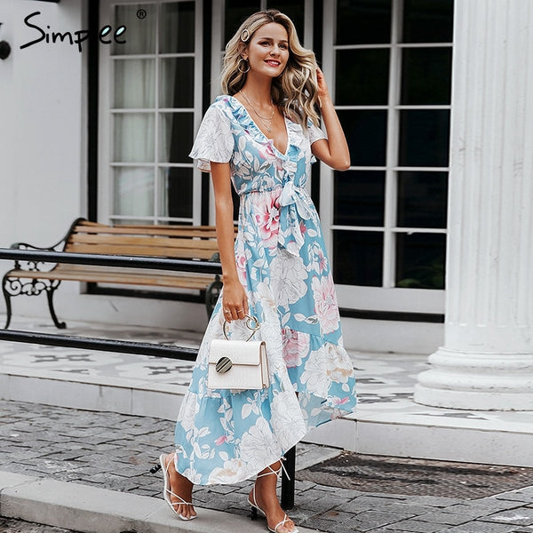 Women's Sexy Floral Short Sleeve Long Plus Size Dresses