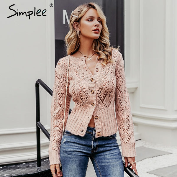 Simplee Women Knitted Cardigan Sweater with Long sleeve and High Waist - ibspot
