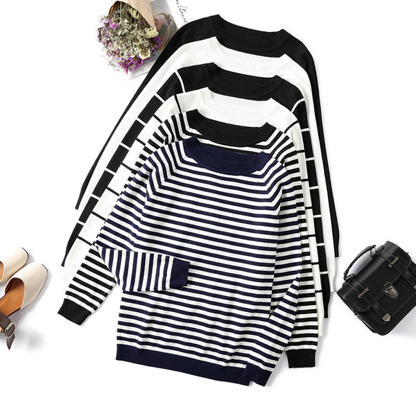 Women Autumn & Winter Long Sleeve Striped Pullover Knitted Sweater with Crew Neck - ibspot