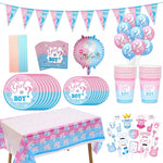 [Gender Reveal Party] Boy or Girl Banner, Disposable Tableware, Baby Shower Latex Confetti Balloons, Photo Prop Supplies - ibspot
