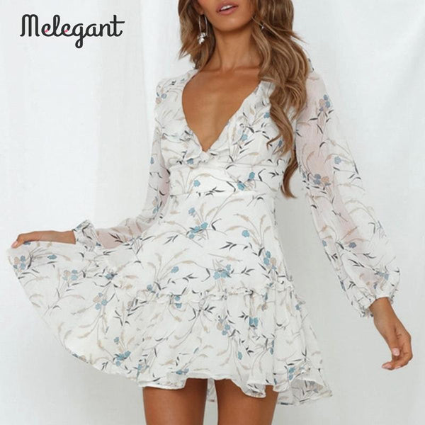 Women's Floral Backless Long Lantern Sleeve Sexy Party Dress
