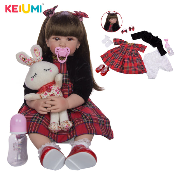 KEIUMI 24 Inch (60 cm) Silicone Soft Realistic Princess Reborn Girl Baby Doll - ibspot