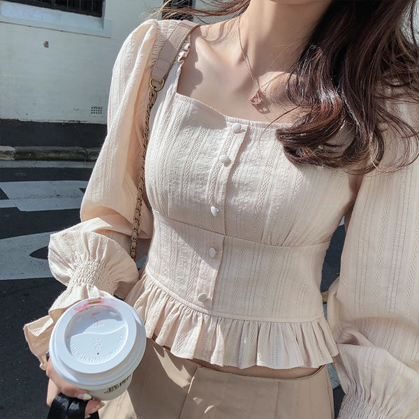 Mishow 2019 New Autumn Women's Retro Blouse with Korean Style Slim Fit Square Collar - ibspot