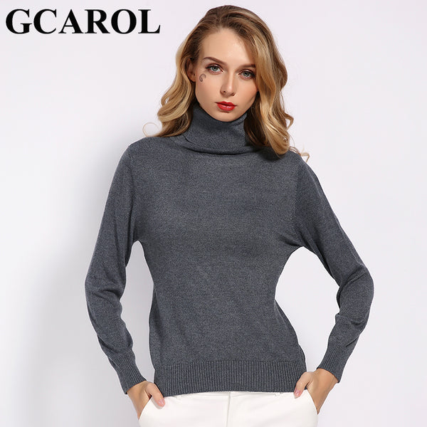 GCAROL New Women Wool 30% of Turtleneck Soft Handle Warm Pullover Sweater - ibspot