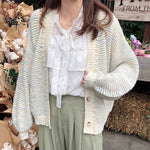 Women Single-breasted Half Striped Knitted Cardigan - ibspot