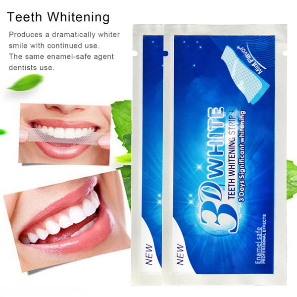 [2pcs] 3D Gel Tooth Whitening Strips Oral Hygiene Teeth Cleaning - ibspot