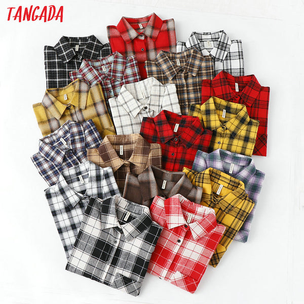 Tangada  fashion women chic oversized plaid blouse with long sleeve - ibspot