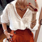 DICLOUD Sexy Woman Long Sleeve White Blouses as Beach Tunic Elegant Dot Shirt - ibspot