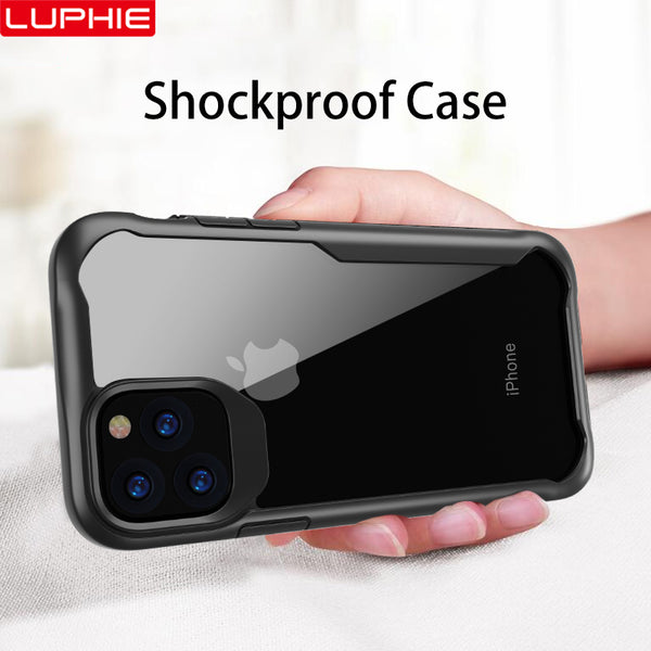 LUPHIE Shockproof Transparent Armor Case Cover for iPhone 11 Pro Max  and iPhone Luxury Silicone Cases - ibspot