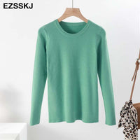 Women Solid Casual Basic Cashmere Long Sleeve Soft Knit & Sweater - ibspot