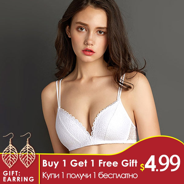 Wire Free Push Up Sexy Bras with Lace and Small Breast Adjustment - ibspot