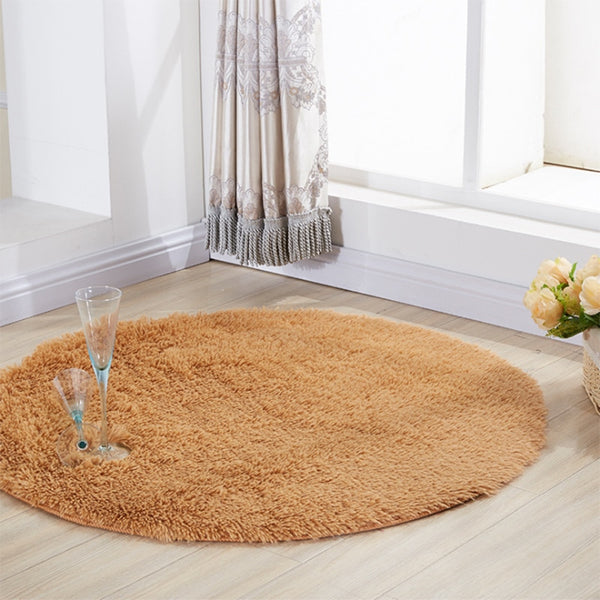 Modern Living Room Bedroom Soft Comfortable Solid Plush Round Carpet - ibspot