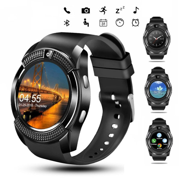 Men Round Sport Smart Watch V8 Sim Card Android, Camera, Answer Call, Dial Call, Heart Rate, Fitness Tracker - ibspot