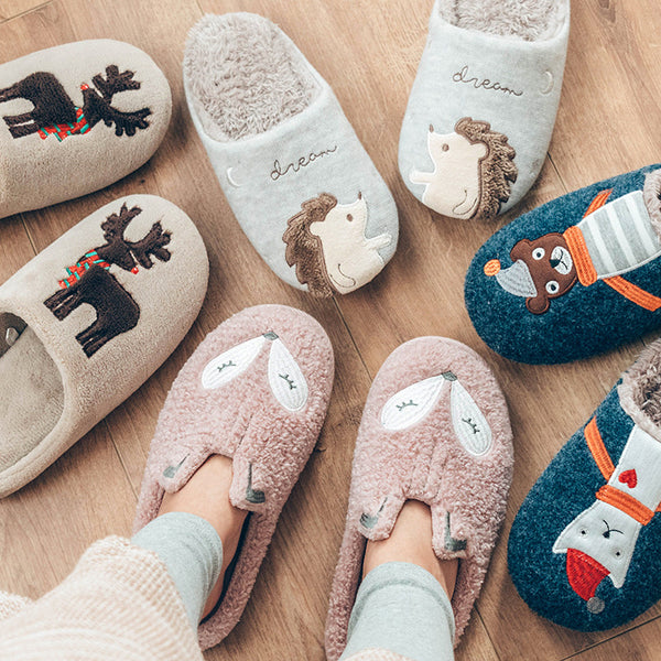Women Cute Animal Nonslip Memory Foam Cotton Indoor Warm Slippers
