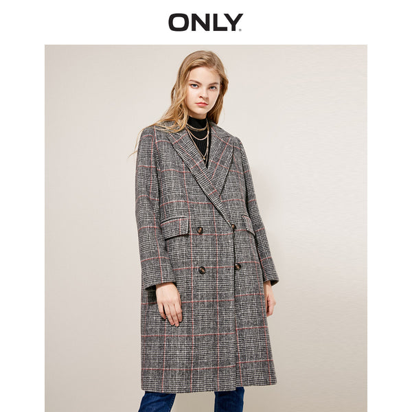 ONLY Women Winter Retro Wide-Waist Double-Breasted Long Coat - ibspot