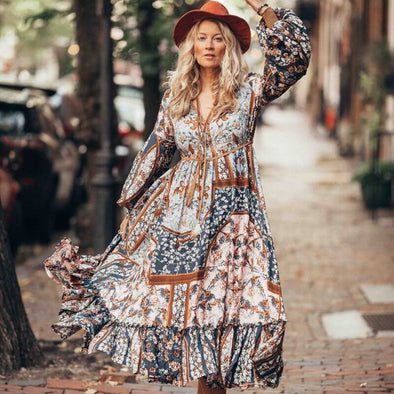 Women's Ruffle Floral Printed Midi Lantern Sleeve Dress