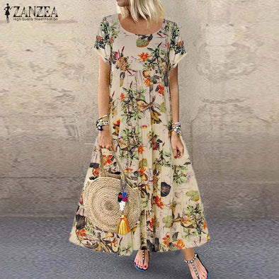 Women's Summer Vintage Short Sleeve  Floral Printed Dress