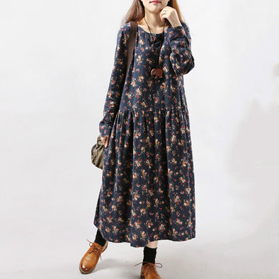 Women's Vintage Print Casual Floral Big Plus Size Dress