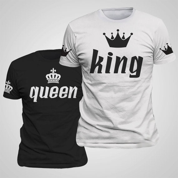 Women King Queen Lovers T-Shirt with Imperial Crown Printing Couple Clothes lovers and O-neck
