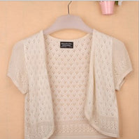 12 Colors Summer Women V-Neck Knitted Casual Loose Short Sleeve Sweaters Cardigans Lady Knitting Open Stitch Outwear - ibspot