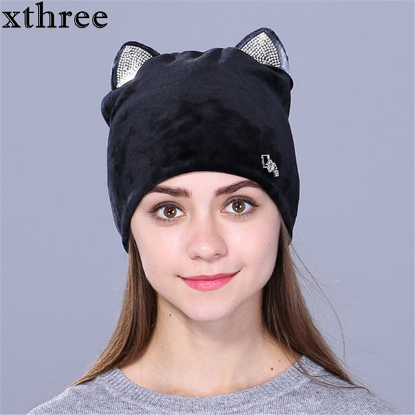 Women cute kitty autumn and winter hat for girls