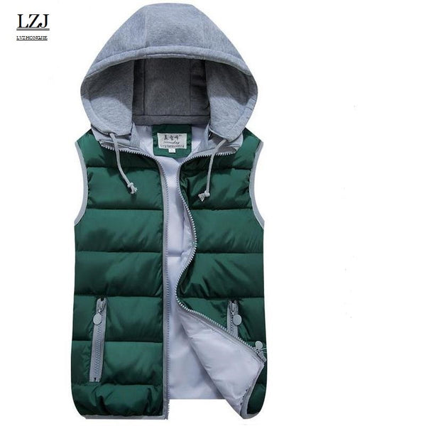 LZJ Women Cotton Wool Collar Hooded Down Vest Removable Hat Female Thicken Winter Warm Black Jacket Outerwear New plus size M1 - ibspot