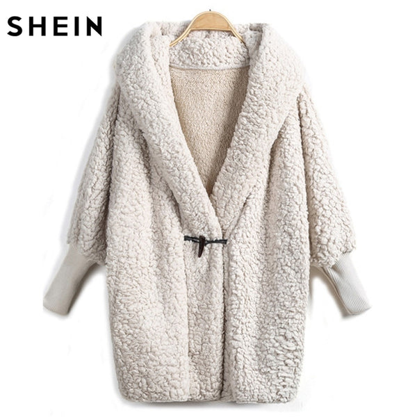 SHEIN Hooded Outwear Winter Newest Fashion Design Women's Apricot Batwing Long Sleeve Loose Streetwear Hooded Coat - ibspot