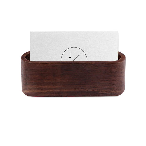 Wooden Business Card Holder Single Compartment Name Card Display Stand Shelf for Desk Desktop Countertop - ibspot