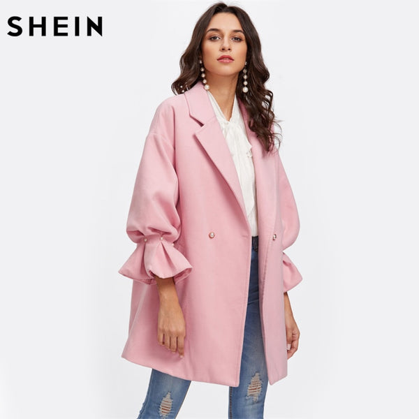SHEIN Drop Shoulder Pearl Detail Ruffle Cuff Coat Elegant Coats for Women Pink Long Sleeve Ladies Spring Autumn Coats - ibspot